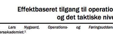 Effektbaseret tilgang til operationer og det taktiske niveau