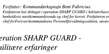 Operation SHARP GUARD - sømilitære erfaringer