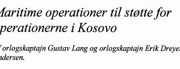Maritime operationer til støtte for operationerne i Kosovo