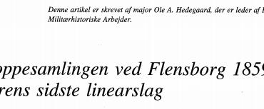 Troppesamlingen ved Flensborg 1859 - hærens sidste linearslag